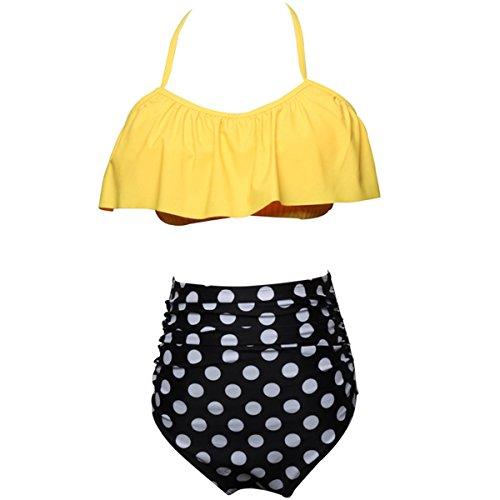 HAINE Sexy Strand Damen Bikini Set Bademode Badeanzüge Bikinis für Frauen Mädchen Bandeau Push up mit Bügel Gelb Dot S