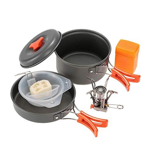 ZLDGYG JJCDY Utensilios de Cocina al Aire Libre para Acampar con Mini Camping Piezoeléctrico Encendido Estufa mochilero cocinar Picnic pote Estufa Conjunto