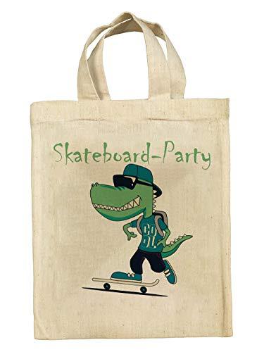 clothinx Lustige Kindergeburtstag Tasche Mitgebsel-Beutel im Set mit Geburtstag-Motto Skateboard 5er Pack