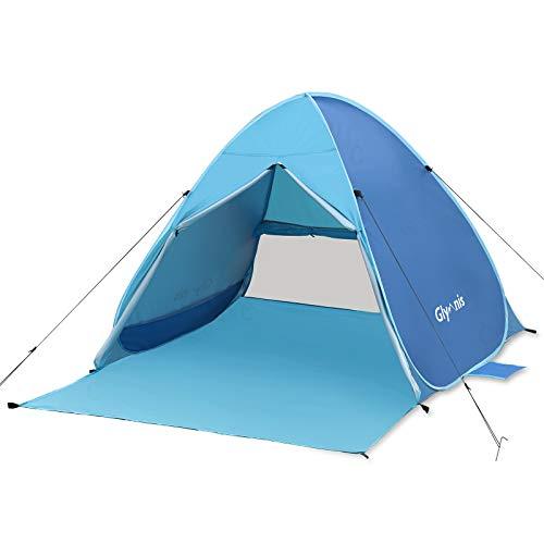 Glymnis Tenda da Spiaggia Pop-up con Sipario Cerniera Tenda Spiaggia Portatile per 2-3 Persone Protezione Solare UPF 50+ Ventilazione, per Campeggio Giardino Spiaggia Include Borsa Portatile