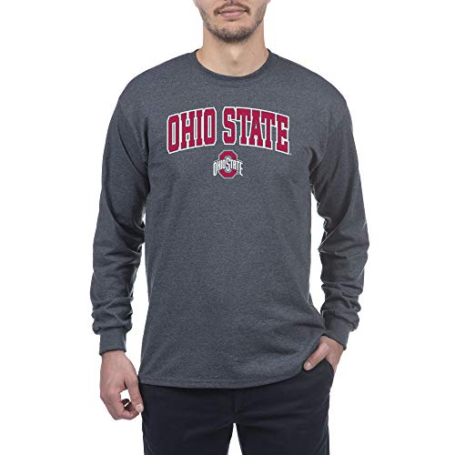 Elite Fan Shop Herren Langarmshirt, Dunkelgrau, Herren, Long Sleeve Shirt Dark Charcoal Gray, Ohio State Buckeyes Dark Heather, Large