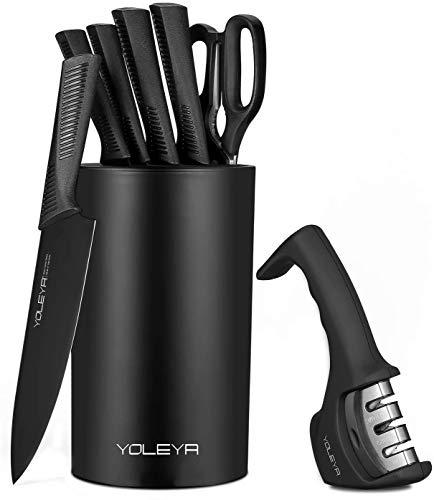 YOLEYA Set Coltelli,8 Pezzi coltelli da chef in acciaio inossidabile con un alto contenuto di carbonio Coltello da chef con supporto,set di coltelli da cucina professionali affilati e antiscivolo