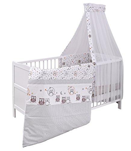 Urra Komplett-Kinderbett Luca 70x140 cm Kiefer weiß | teilmassiv | inklusive Bettset 3-teilig | Matratze | Himmelstange | Eulenpaar