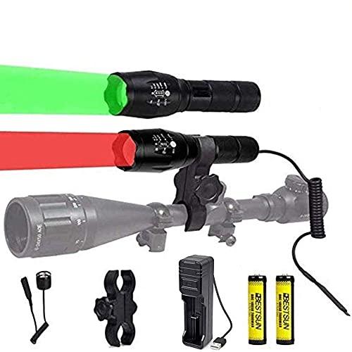 Linternas tácticas LED rojas y verdes de 350 yardas, linterna de caza con luces rojas y verdes, luz predadora del cerdo coyote con presostato y soporte para telescopio de caza nocturna