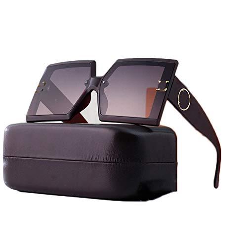 LK-HOME Gafas De Sol Polarizadas,Mujer Hombre Sunglasses Anti-Ultravioleta,Elegantes Marco Grande Ultraligeros Retro Adecuados Deportes Al Aire Libre Pilotos Conducción Conducción,Marrón