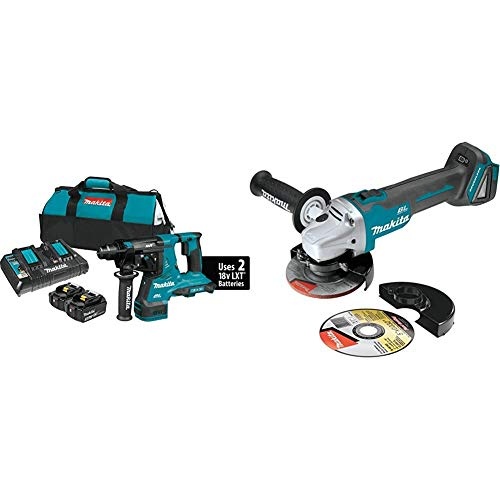 Makita XRH08PT 18-Volt X2 LXT Lithium-Ion (36V) Brushless Cordless 1-1/8 Inch Rotary Hammer Kit (5.0Ah) with XAG04Z 18-Volt LXT Lithium-Ion Brushless Cordless 4-1/2 / 5 Inch Cut-Off/Angle Grinder