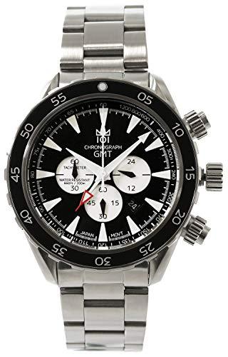 [HYAKUICHI 101] ヒャクイチ 腕時計 GMT ダイバーズウォッチ 20気圧防水 クロノグラフ メンズ スモールセコンド ブラックパンダ
