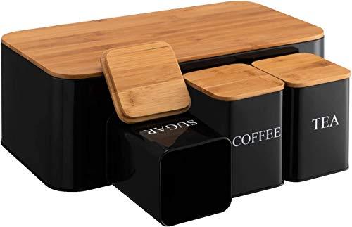Juego de panera de gran capacidad y 3 recipientes de almacenamiento de hierro utilizados para cocina o mesa de almacenamiento de almacenamiento para pastelería, café, galletas y más negro...