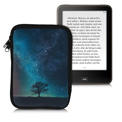 kwmobile Tasche für eReader - Neopren Hülle Schutzhülle Galaxie Baum Wiese Blau Grau Schwarz - 17 x 12 x 2 cm Innenmaße