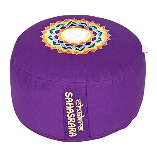Yogabox Meditationskissen Glückssitz Chakra, 7.Chakra Kronen-Chakra (Sahasrara) / aubergine