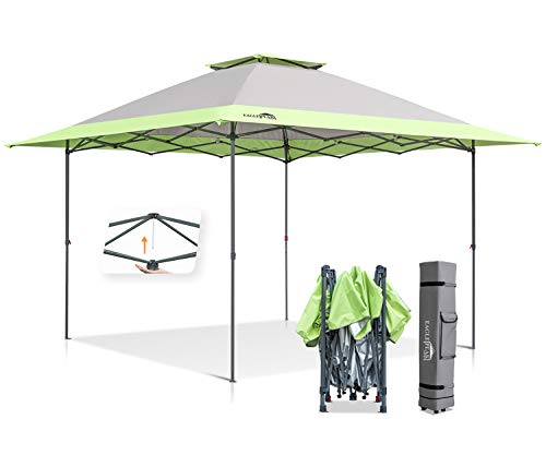 Eagle Peak 13'x13' Straight Leg Pop Up Canopy Tent Instant Outdoor Canopy Easy Single Person Set-up Folding Shelter w/Auto Extending Eaves 169 Square Feet of Shade (Gray/Green)