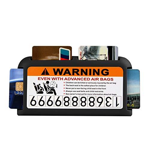YSHtanj Visor Card Houder Interieur Opslag Kaarthouder 2-in-1 Auto Visor Clip Card Houder Organizer Tijdelijke Parkeerplaats Telefoon Nummerplaat - Grijs