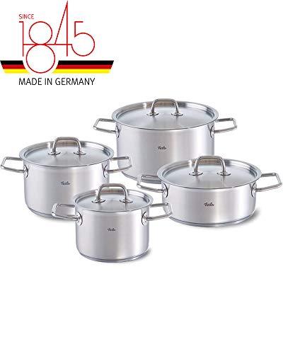 Fissler berlin / Edelstahl-Topfset, 4-teilig, Kochtopf-Set, Töpfe mit Deckel, stapelbar, Abgießhilfe Set, Induktion, alle Herdarten (3 Kochtöpfe, 1 Bratentopf)