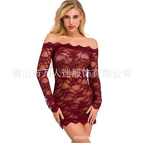 MEN.CLOTHING-LEE Corsés para Mujer Conjuntos de lencería para Mujer Lencería Sexy XL lencería Sexy Net Rojo Body-Wine Red_S