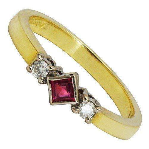 BJC 18 ct Oro Amarillo Corte Princesa rubí& Anillo Compromiso Diamante Redondo Talla O