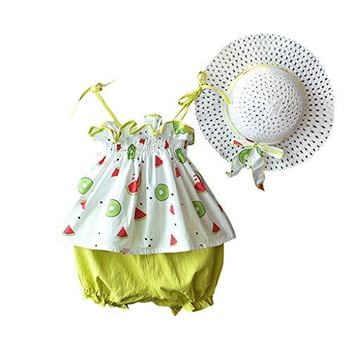 JERFER Kleinkind Mädchen Karotte Wassermelone Hosenträger Tops Kurze Hose Stroh Hut Outfits