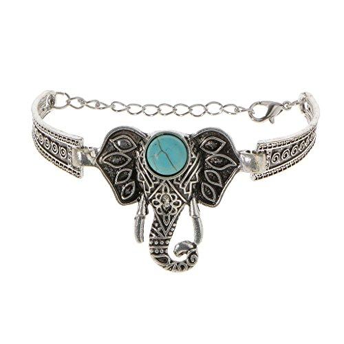 Milageto Vintage Boho Beauty Unisex Brazalete Pulsera Bohemia Elefante Turquesa Charm