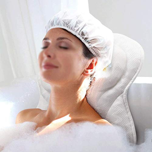 Almohada de Baño Almohada de Baño Malla de Aire 3D Cojín para Bañera Cabeza Cuello Resto para Hombros y Espalda con Ventosa para Todas Las Bañeras de Hidromasaje Mujeres Hombres Almohadas de Bañeras