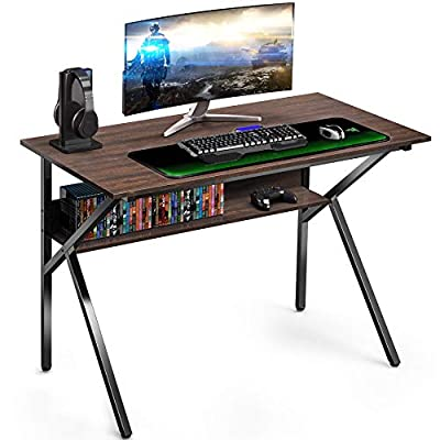 "FITUEYES Gaming Computer Desk with Storage Shelf K Shaped Sturdy 42"" Writing Table for Home and Office KCD110601WE"