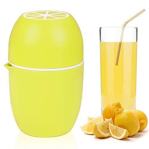 Wishstar Saftpresse Manuell, Orangenpresse Zitronenpresse mit Zwei Pressmöglichkeiten, Obstpresse für Zitronen/Limetten/Apfelsinnen/Orange/Grapfruit - Gelb