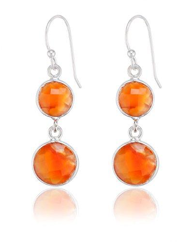 Ley Aarohee de plata del pendiente de piedra semi-preciosa de color naranja...