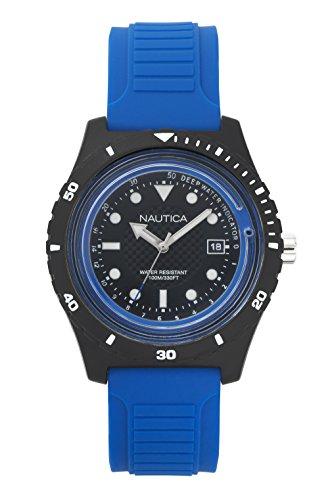 Nautica Herren Datum klassisch Quarz Uhr mit Silikon Armband NAPIBZ002