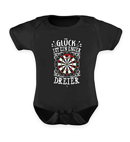 Glück ist EIN Enger Dreier Dart T-Shirt Dartspieler Dartpfeile Dartboard Team Geschenk - Baby Body -0-6 Monate-Schwarz