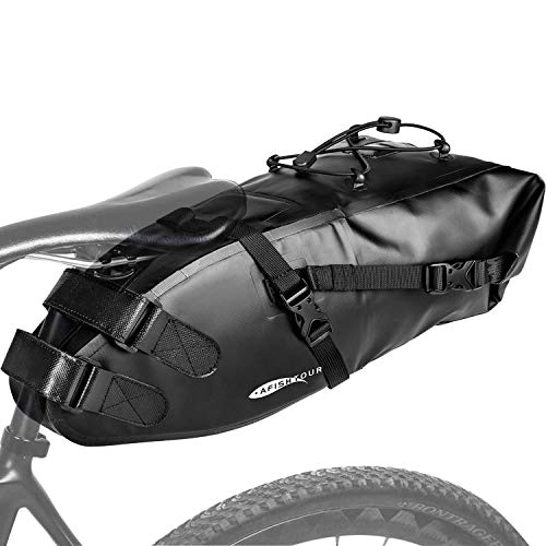 Jeebel Borsa da Sella Bici, Borse da Bicicletta Posteriori Laterali Borsa da Sottosella Impermeabile 10L Portaoggetti da Sella Leggero Per Ciclismo Bici Corsa MTB Mountain bike, Nero