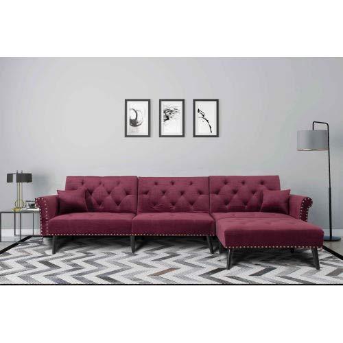 NOUVCOO - Cama convertible con 2 almohadas, sillón reversible, forma de L, sofá seccional para muebles de salón, terciopelo rojo vino
