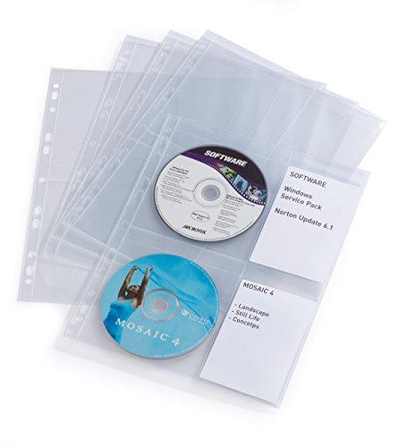 Durable 523819 - CD/DVD Cover Light M, Busta per 4 CD/DVD, Foratura per Archiviazione, Porta Etichetta, Trasparente, Confezione da 10 Pezzi