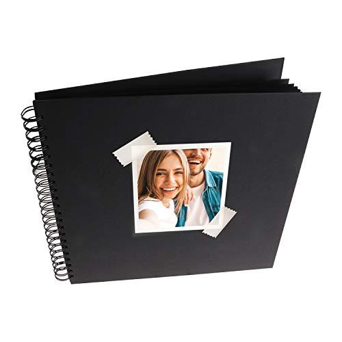 MP - Álbum Scrapbooking, Portada Gruesa, 20 Hojas Cuadradas, Negro - 20x20 cm