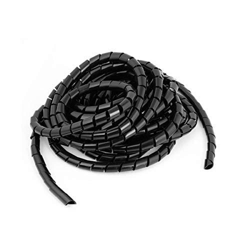 Her Kindness 18 Metros Organizador de Cables en Espiral Wire Wrap TuboAdecuado de PC TV Cable de antena estéreo etc(Diámetro 10mm) Negro