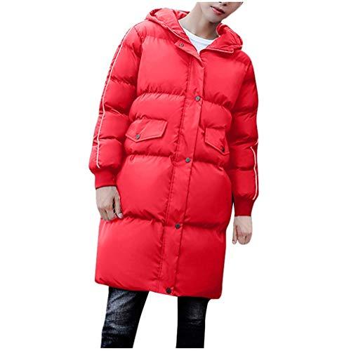 BRISEZZ mode herfst en winter mannen vrouwen feeste bovenkleding lang, met katoen gevoerde jassen met capuchon paar mantels winddichte mantel (zwart, rood, M-L3)