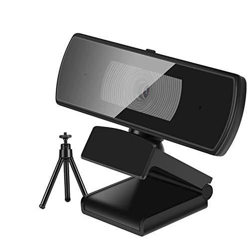 Webcam 2K Full HD con micrófono estéreo, con trípode y cobertura de confidencialidad, cámara web, USB Plug&Play, Skype, chat vídeo, conferencia PC, ordenador, ordenador, Mac, Windows (2K/1440P)