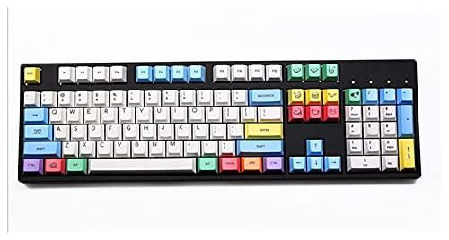 F-Mingnian-rsg Partes del Teclado keycap 1 Juego Keycap Dye Sub Keycap Set PBT Plastic Crayon Chalk para Teclado mecánico Blanco Azul Naranja Reemplazable Keycap DIY