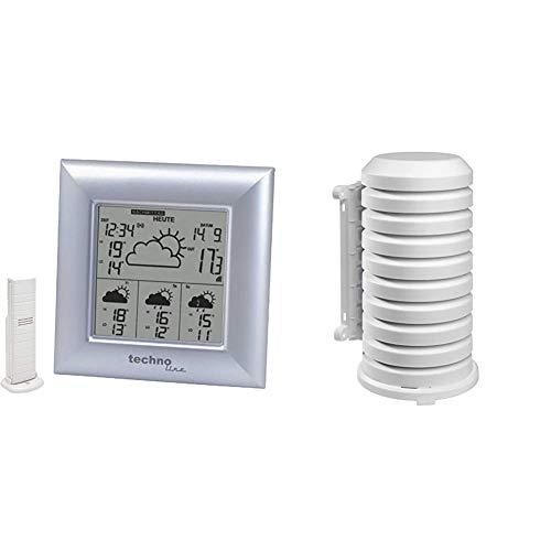 Technoline WD 4000 satellitengestützte Wetterstation mit Uhrzeit, Innen/Außentemperaturanzeige, 14,8 x 5,4 x 14,8 cm & TFA Dostmann Schutzhülle für Sender Artikel, leicht zu montieren, weiß