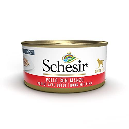 Schesir, Cibo Umido per Cani Adulti al Gusto Pollo con Manzo Preparato in Morbida Gelatina - Totale 2,7Kg (18 Lattine da 150G)
