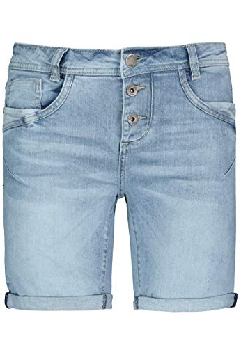 Fresh Made Damen Boyfriend Jeans Bermuda-Shorts im Used Look Blue L