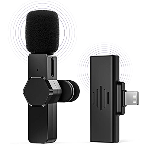 Wireless Lavalier Microphone for iPhone iPad, Plug-Play Wireless Mic for Recording,...