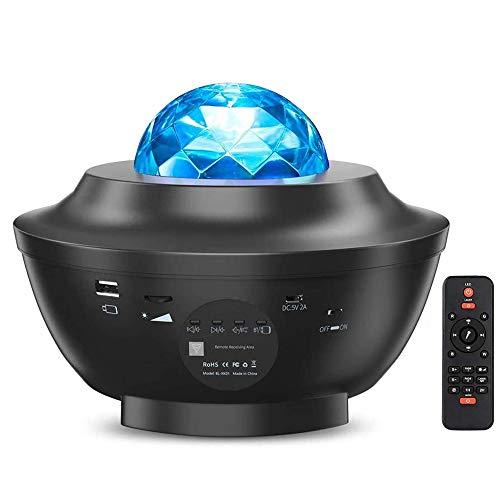 Sternenhimmel Projektor, Ferngesteuerte LED Musik Nebulicht Sternenhimmel Lampe mit Bluetooth Lautsprecher Sound Sensor & Timer für Kinder Erwachsene Zimmer Dekoration Geschenk [Energieklasse A+]