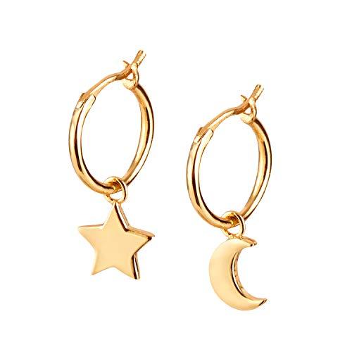 Brandlinger ® Atelier pendientes de aro de plata de ley dorada colgantes estrella y luna para mujeres y niñas. Tamaño 20mm