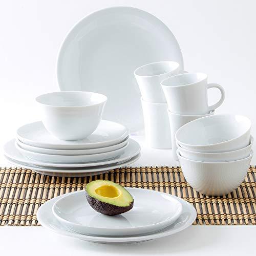 Kahla 32g103o90032C Update Porcelana Vajilla Set Vajilla (16Piezas, 4Personas–Juego de Desayuno Snack Platos Llanos del tazón Taza de café