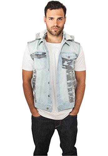 Urban Classics Hooded Camo Denim Vest Manches, Bleu (Lightblue 00344), Small Homme