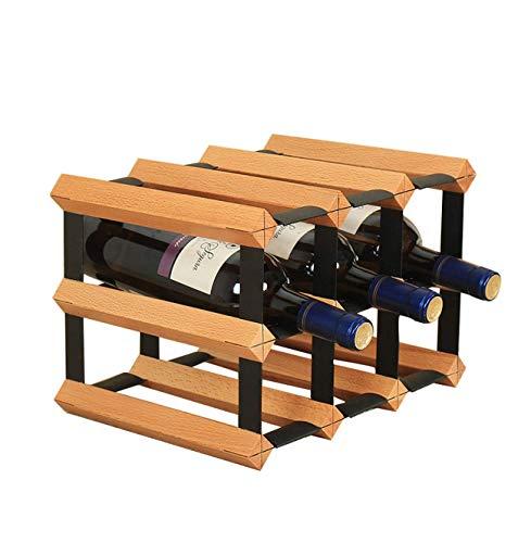GUOCAO Estante de la Botella de Vino Cremallera de una Pieza de Madera de Vino de Cristal del sostenedor del Estante del almacenaje del Vino Estantería de Vino