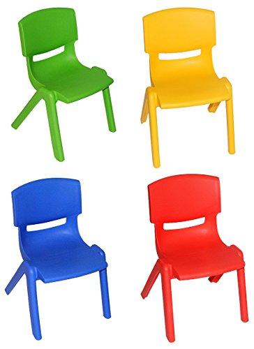 alles-meine.de GmbH 4 TLG. Set: Kinderstühle - BLAU + ROT + GELB + GRÜN - bis 100 kg belastbar / stapelbar / kippsicher - für AUßEN & INNEN - Plastik / Kunststoff - Kindermöbel f..