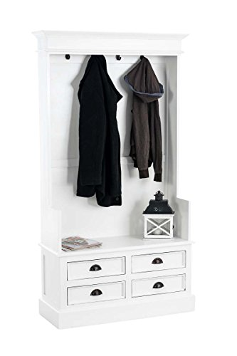 CLP Garderobenschrank JUST aus Mahagoniholz | Garderobe im Landhausstil mit 4 Schubladen und 4 Garderobenhaken weiß-matt