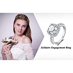 JewelryPalace Cushion 3ct Cubic Zirconia Promise Halo Solitaire Engagement Ring 925 Sterling Silver Size X #5