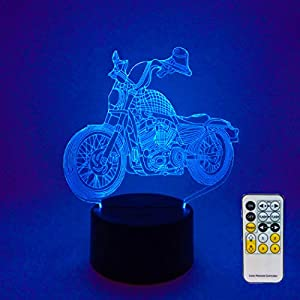 Night Lights for Kids Motorcycle Model Lamp 3D Night Light Bedside Lamp 7 Colors Changing with Remote Control Birthday Gifts for Boys Girls Kids Baby