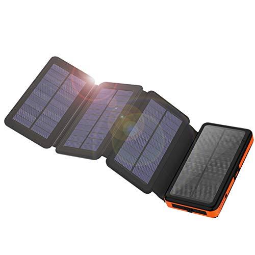 X-DRAGON Caricabatterie Solare 25000mAh Solare Powerbank Batteria Esterna con 4 Pannelli Solari, Uscite e Ingressi USB Dual per Cellulare iPhone Smartphone Campeggio Esterno