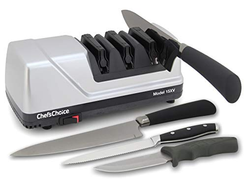 Chef#039sChoice Trizor XV EdgeSelect Professional Electric Knife Straight and Serrated Knives Diamond Abrasives Patented Sharpening System 3stage Gray